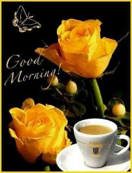Good Morning Have A Good Day Coffee And Yellow Roses B Morning