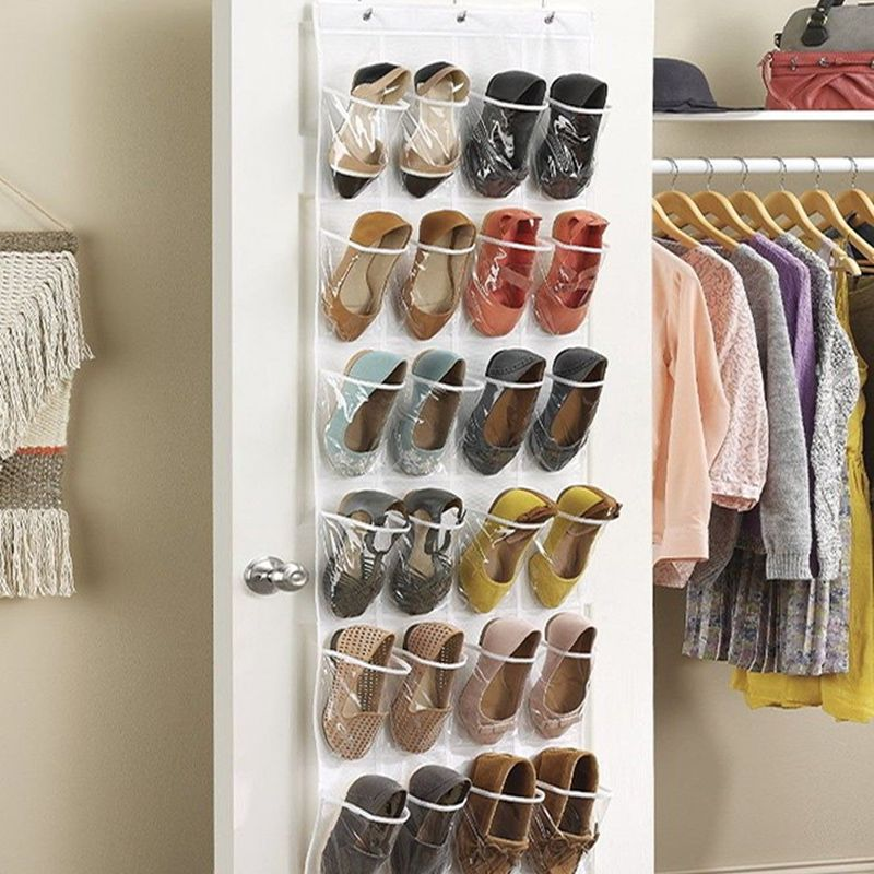 24 Pocket Shoe Space Door Hanging Organizer Storage Rack Wall Bag