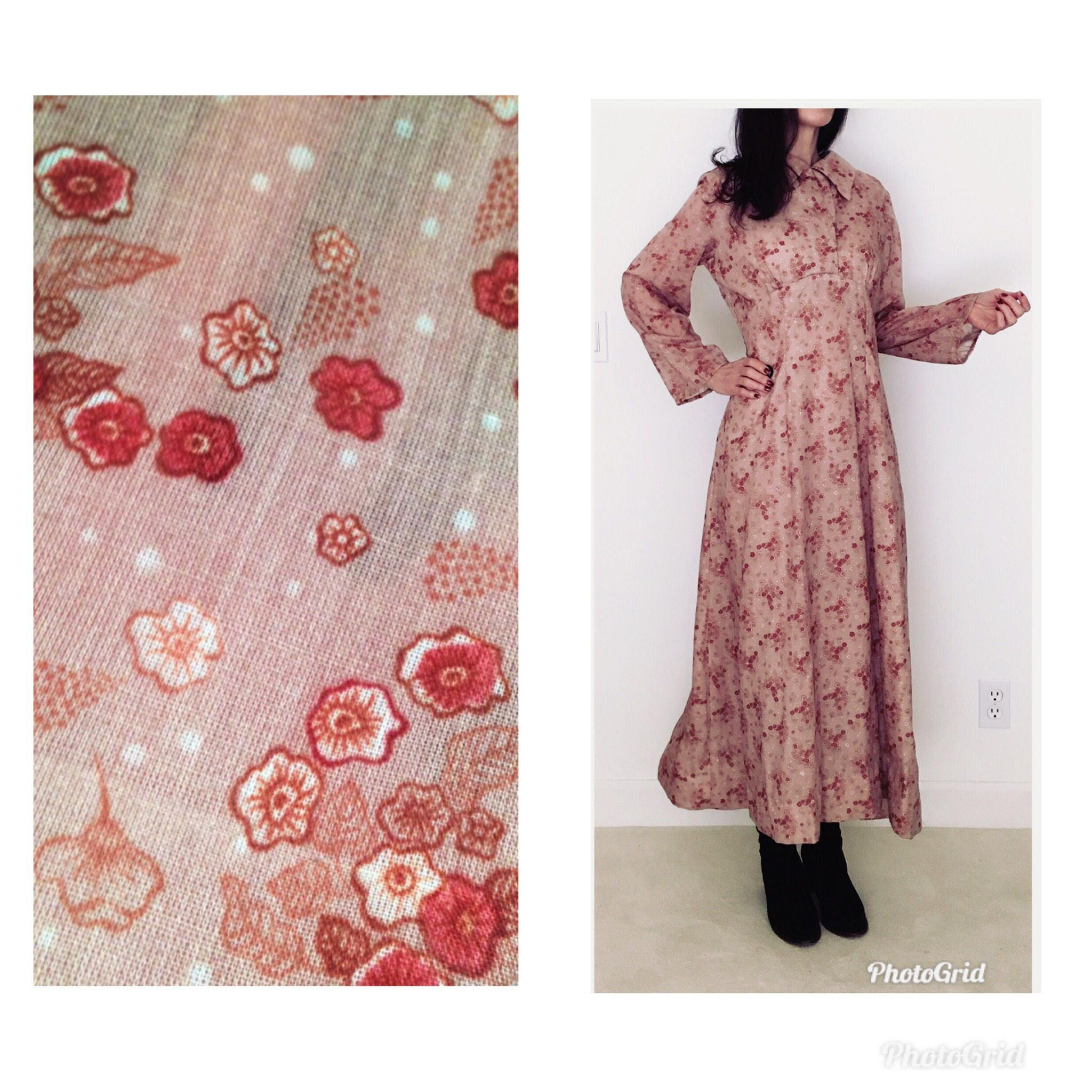 Vintage s boho festival dress women l long sleeve hippie maxi