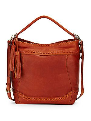 Whipstitched Leather Convertible Hobo Bag
