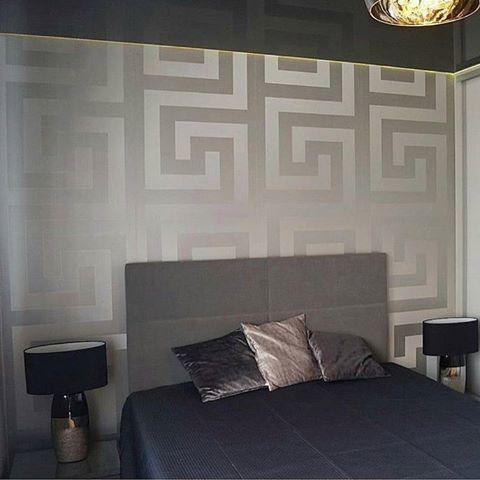 Versace Greek Key Silver Wallpaper 935235 Home decor