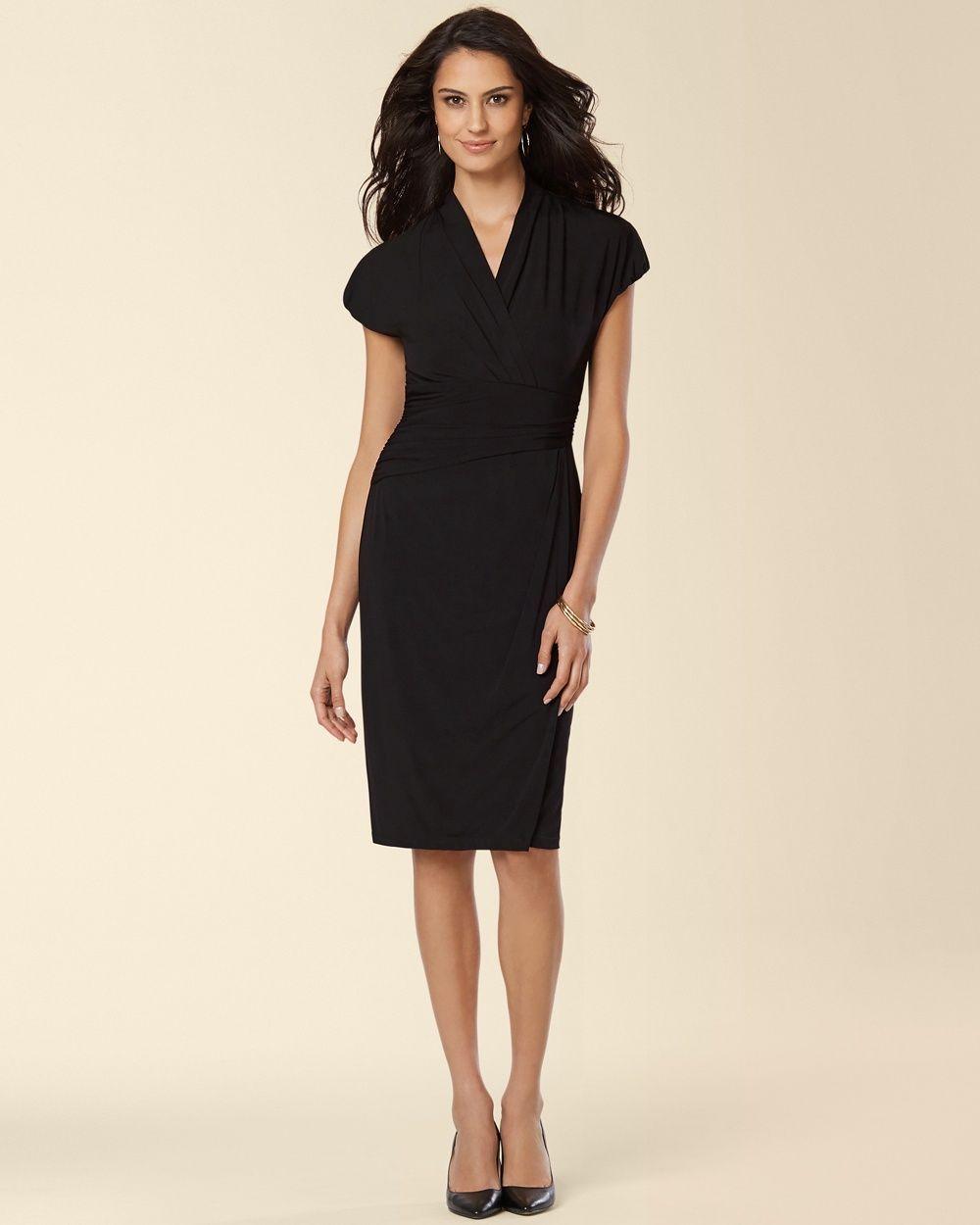 Soma Ivy and Blu Shirred Surplice Black Dress 78d3b1251