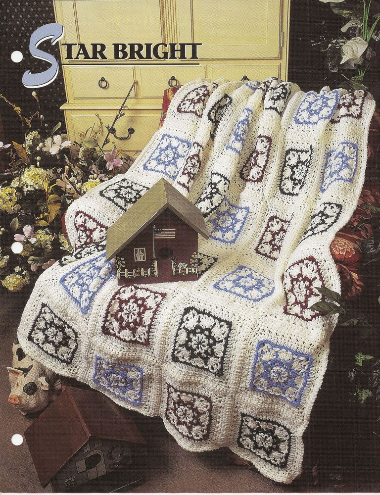 Annie/'s crochet pattern leaflet Eight-Pointed Star Patchwork Quilt Afghan