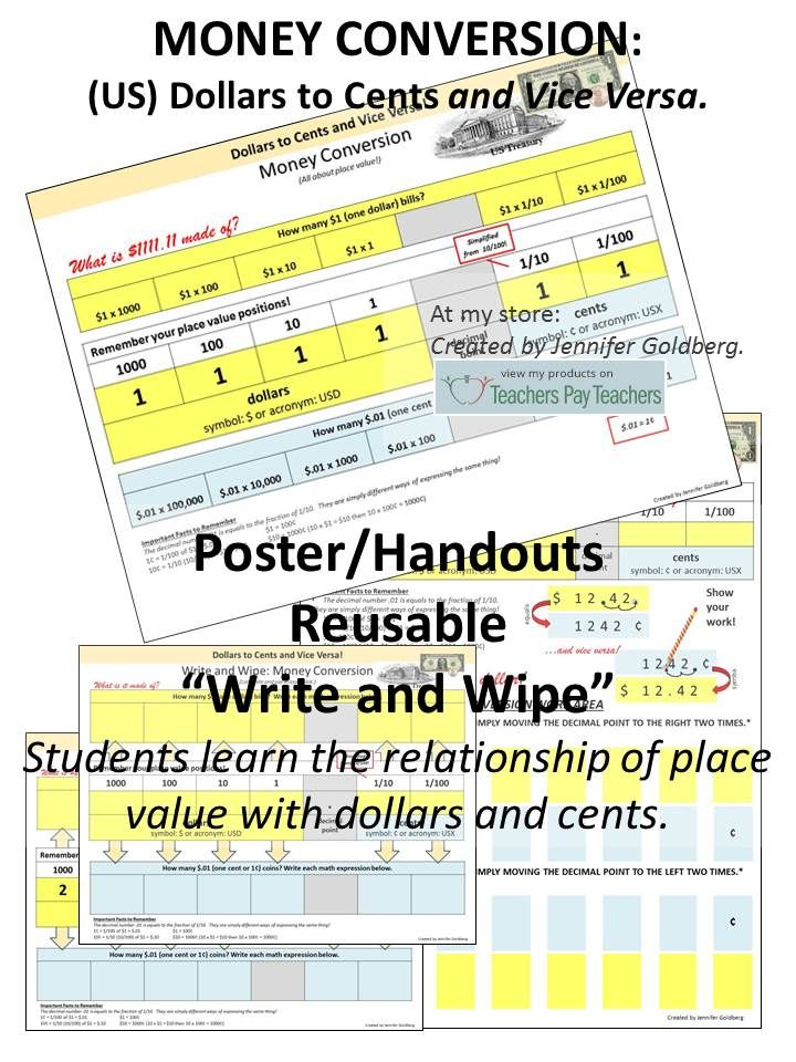 Money Conversion Us Dollars To Cents And Vice Versa Poster Handouts Reusable Write Wipe Students Learn The Relationship Of Place Value With