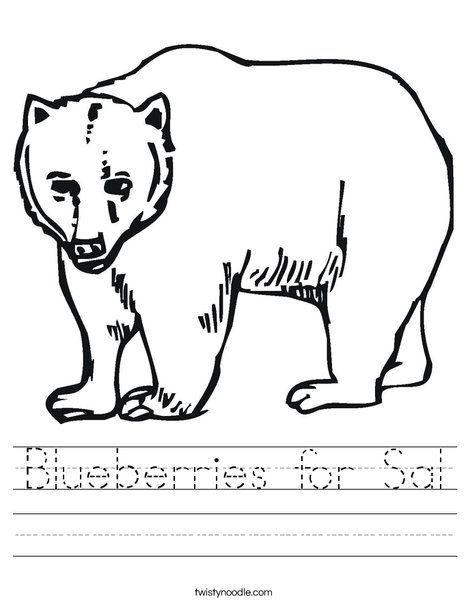 Blueberries For Sal Worksheet Cursive Twisty Noodle Bear
