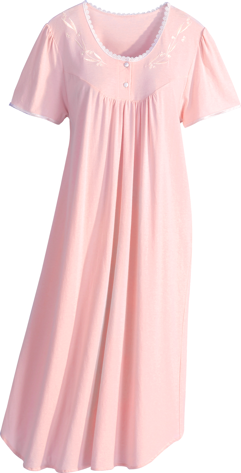 518dec8803 Combed cotton knit nightgown is a sumptuously soft knit. Incredibly  comfortable cotton nightgown is trimmed with lace and satin.