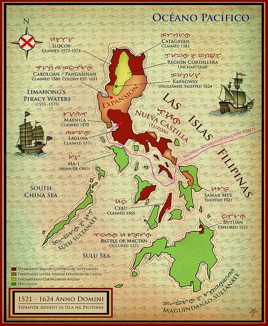 Spanish Philippines Map.Map Of The Philippines During Spanish Advent Circa 1521 1624 Ad