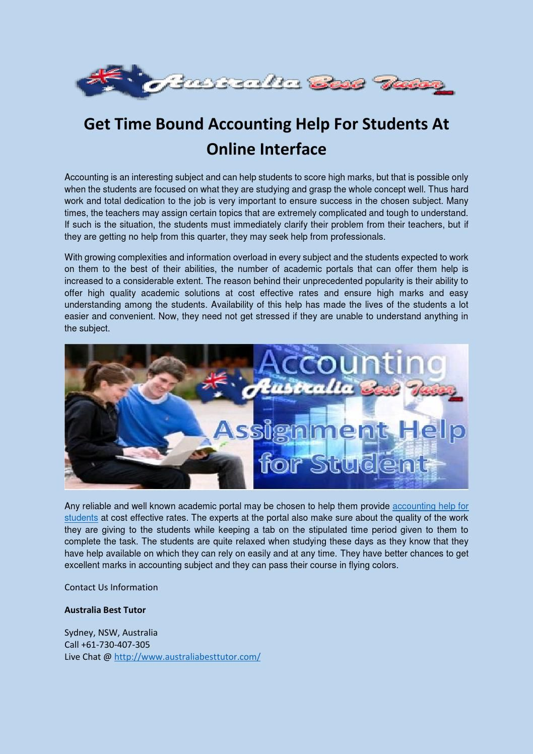 Get time bound accounting help for students at online interface