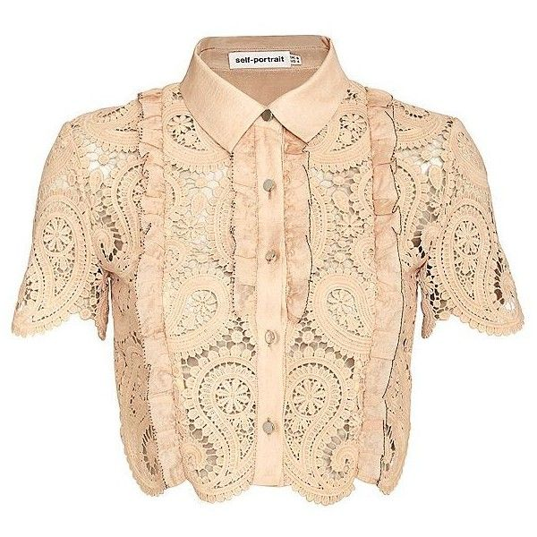 Self Portrait Paisley Lace Crop Blouse (6,255 MXN) ❤ liked on Polyvore featuring tops, shirts, crop top, blouses, lace, beige lace top, collared crop top, short-sleeve shirt, lace crop top and short sleeve shirts