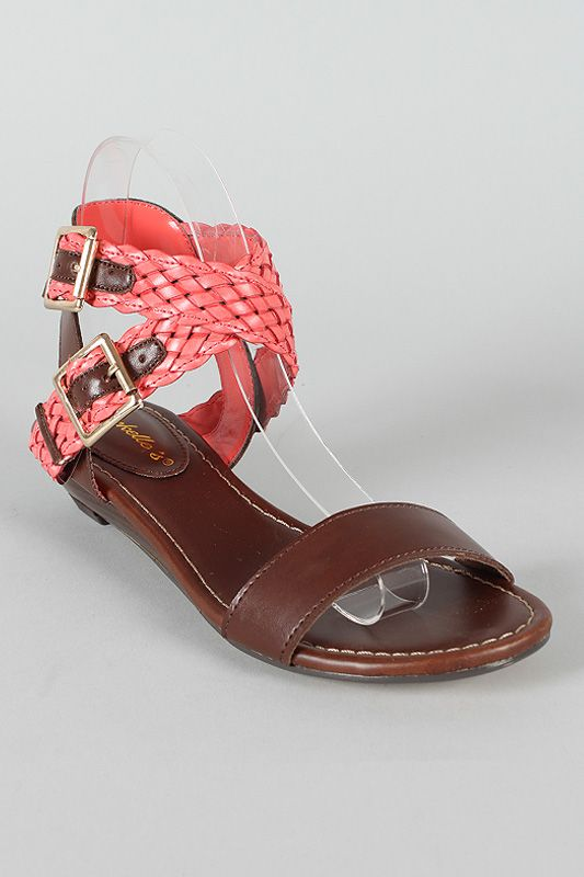 eb77a8654ceb46 Breckelle Stella-15 Woven Open Toe Flat Sandal