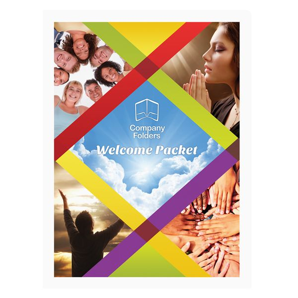 Colorful Church Welcome Packet Folder Template (Front View