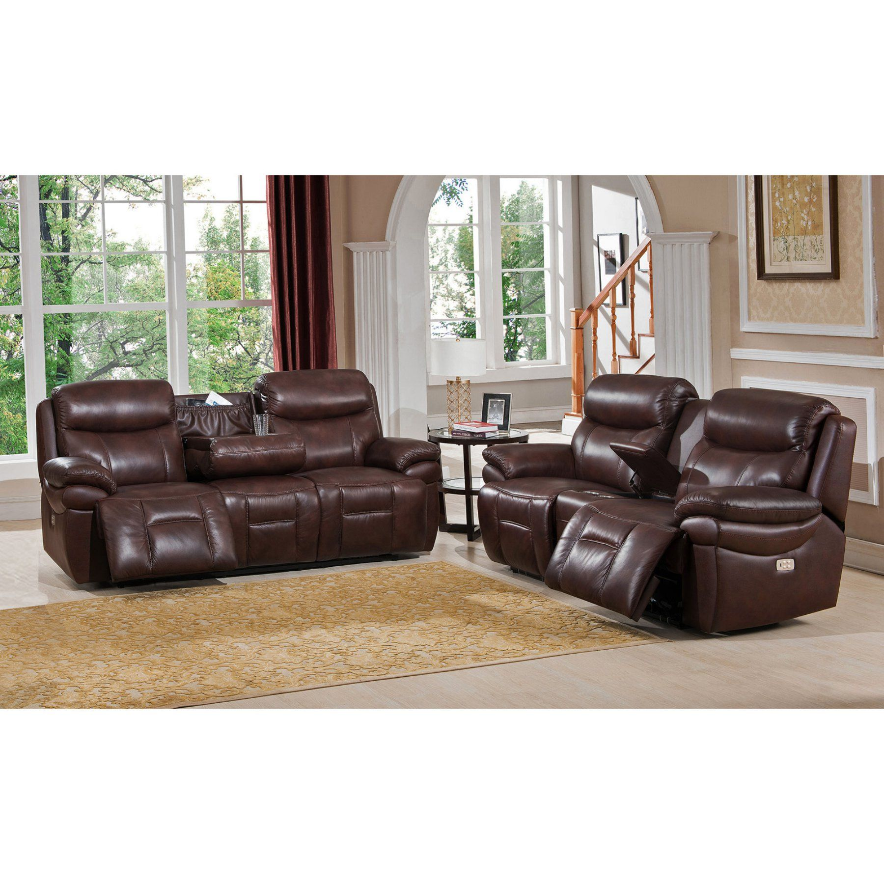 Amax Leather Summerlands II Top Grain Leather Power Reclining Sofa