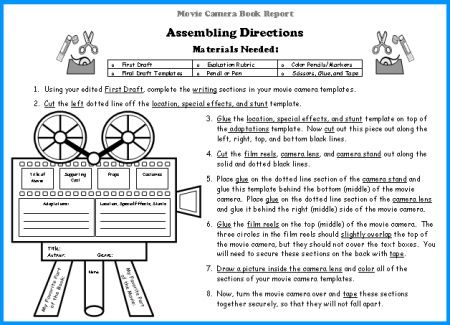 movie camera book report project templates worksheets rubric and