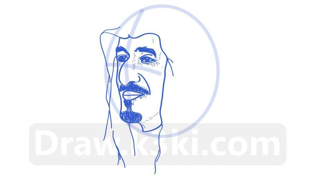 رسمة الملك سلمان تعلم رسم الملك سلمان خطوة بخطوة تعلم الرسم Male Sketch Art Humanoid Sketch