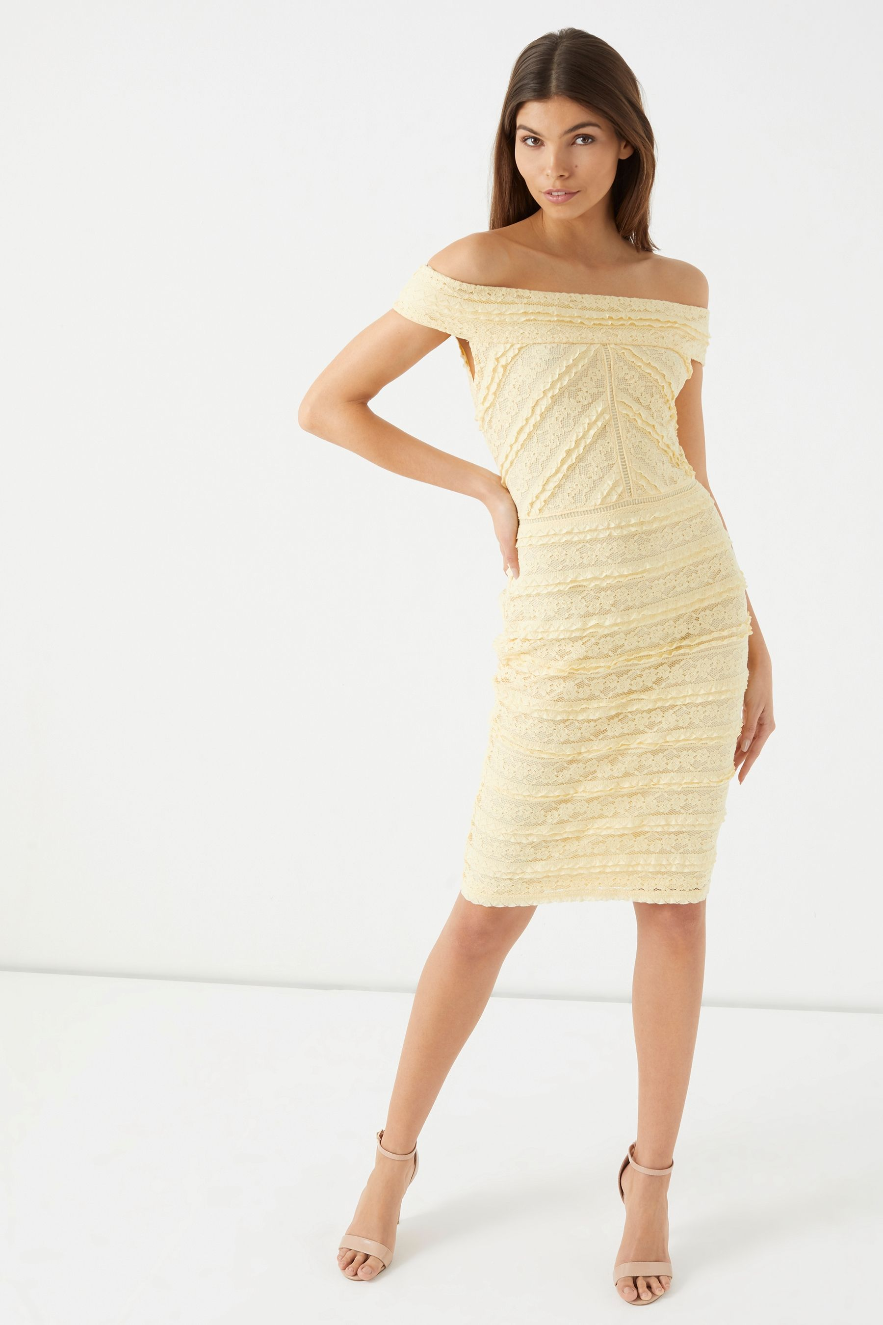 8f8b04dac16ec Womens Lipsy All Over Lace Bardot Bodycon Dress - Yellow   Products ...