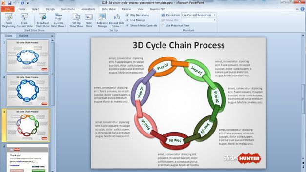 3D Cycle Chain Process PowerPoint Template | Publisher