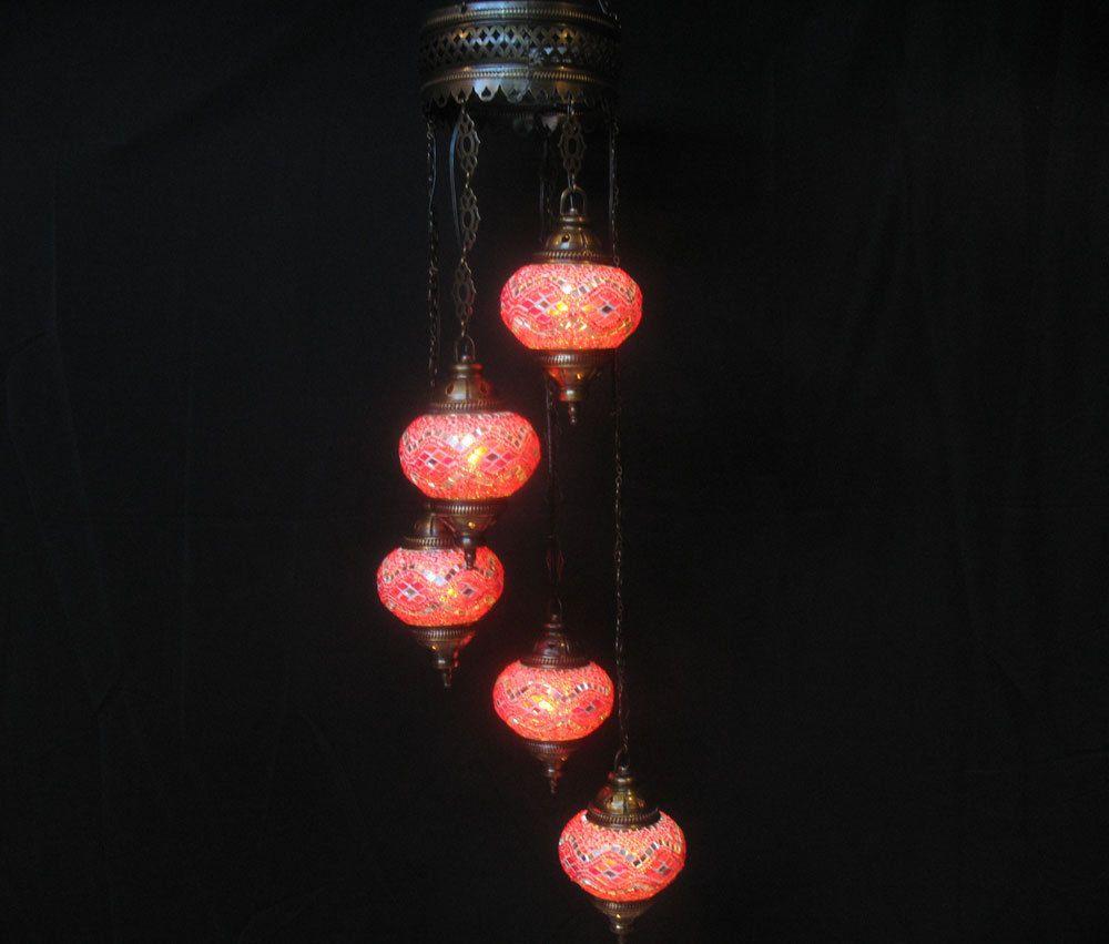5 ball glass chandelier lamp red light lampen handmade candle art 168 #Handmade #Moroccan
