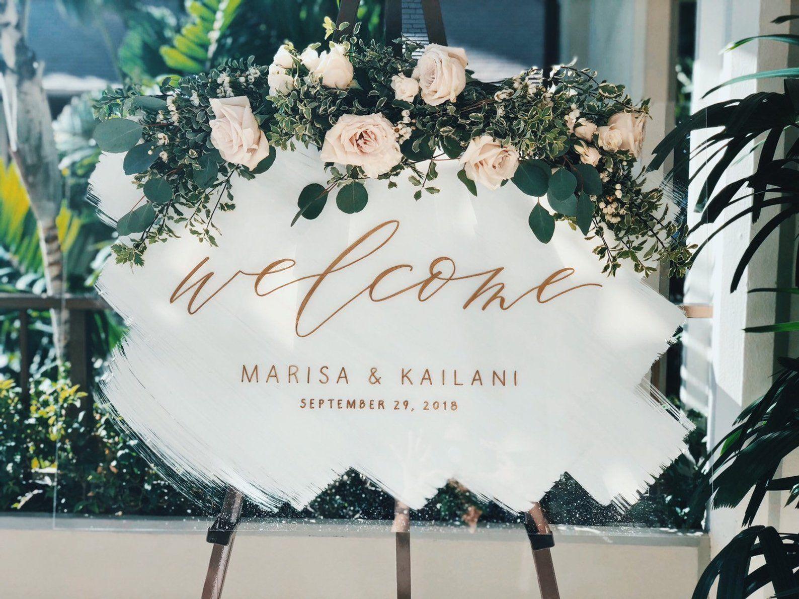 Acrylic Wedding Sign, Painted Acrylic Sign