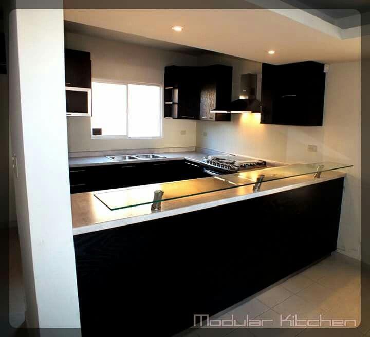 Cocina Modular | Cocina Chapa De Encino Con Barra De Cristal Modular Kitchen