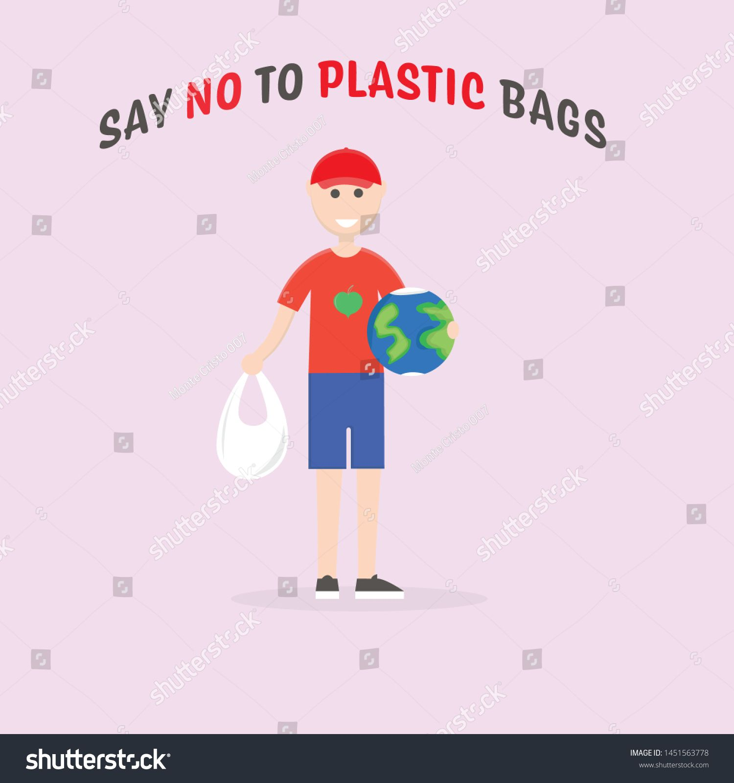 Say no to plastic bags. Male eco activist holding a globe. Ecology conversation. Flat editable vector illustration, clip art #Ad , #ad, #activist#holding#globe#eco