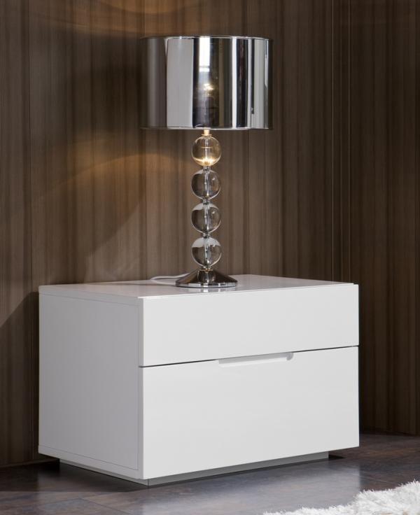 Lea Modern Bedside Cabinet In White High Gloss Modern Bedside