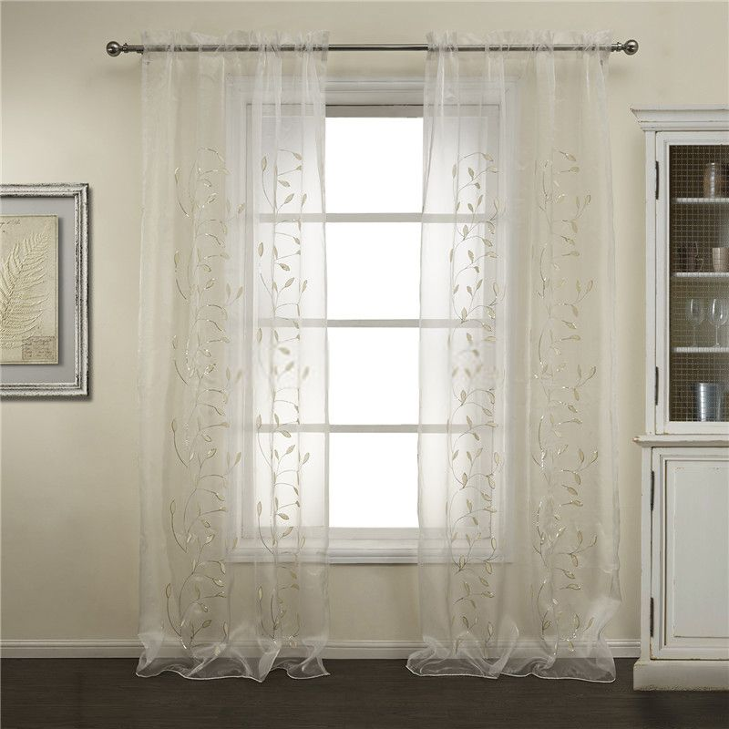 Amazing White And Green Leaf Extra Long Sheer Curtains