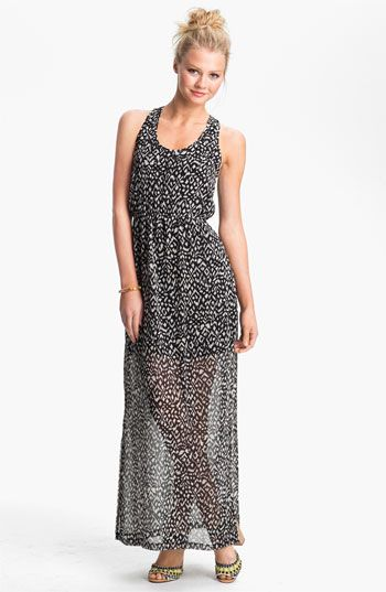Dee Elle Keyhole Back Print Chiffon Maxi Dress (Juniors) available at Nordstrom