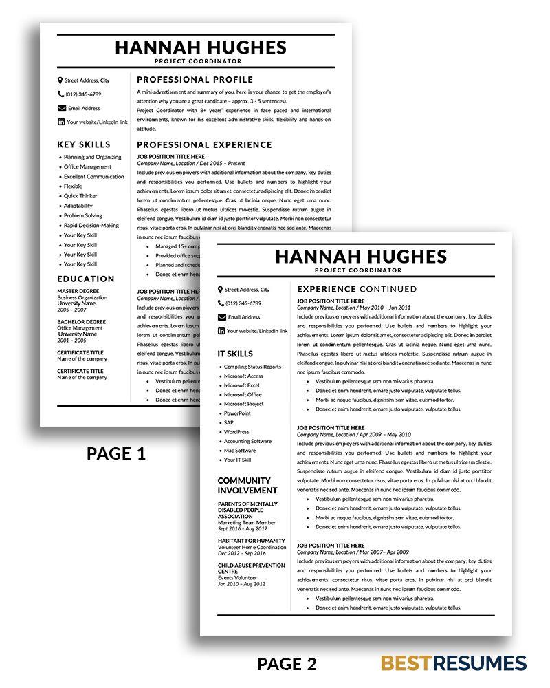 Modern Resume Template Hannah Hughes BestResumes.info in