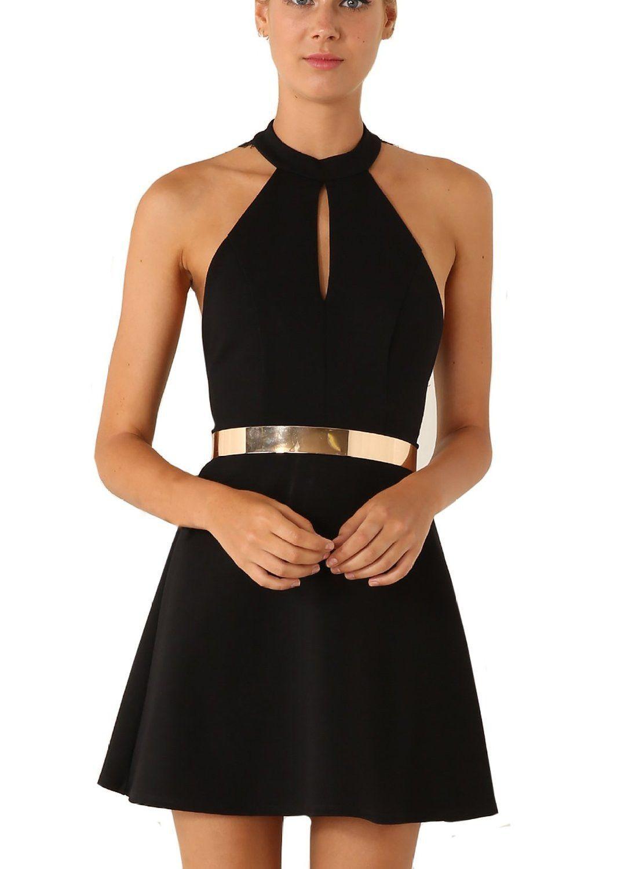Women\'s Black Sleeveless Halter Contrast Lace Backless Dress ...