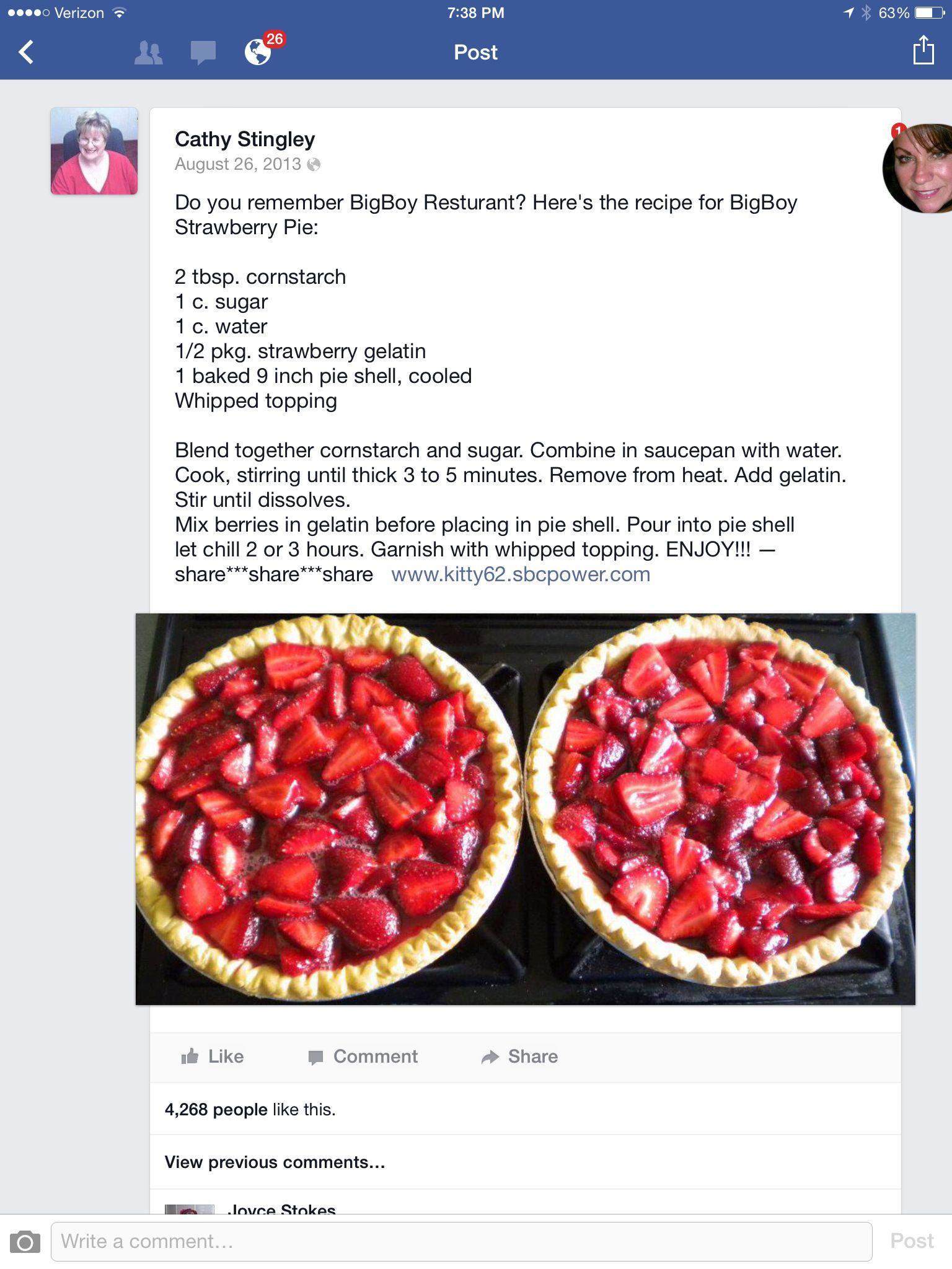 Strawberry Pie, just like Big Boys