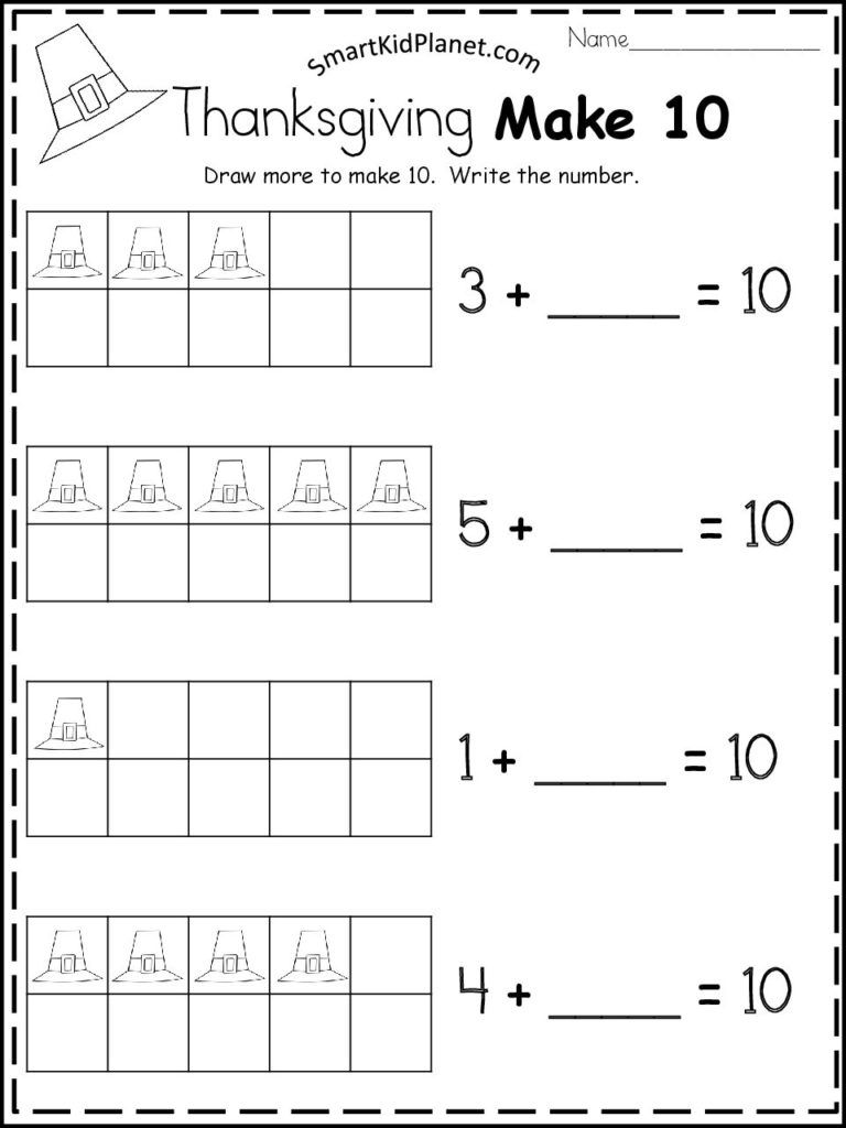 Thanksgiving Make 10 Math Worksheet – Smart Kid Planet | Free ...