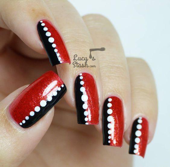 Red Black White Nail Designs Archidev