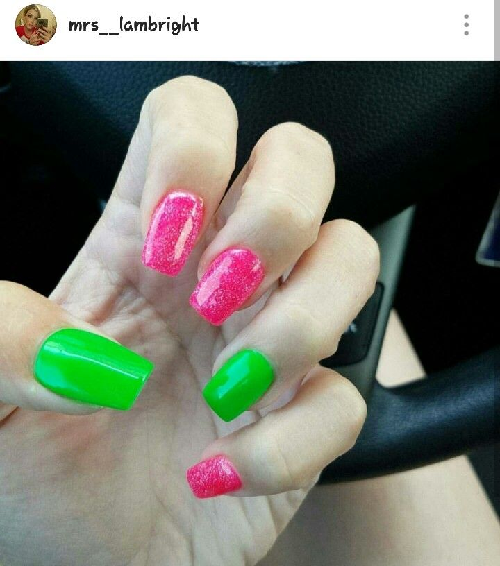 Hot Pink And Lime Green Nails Summernails Neon Lime Green