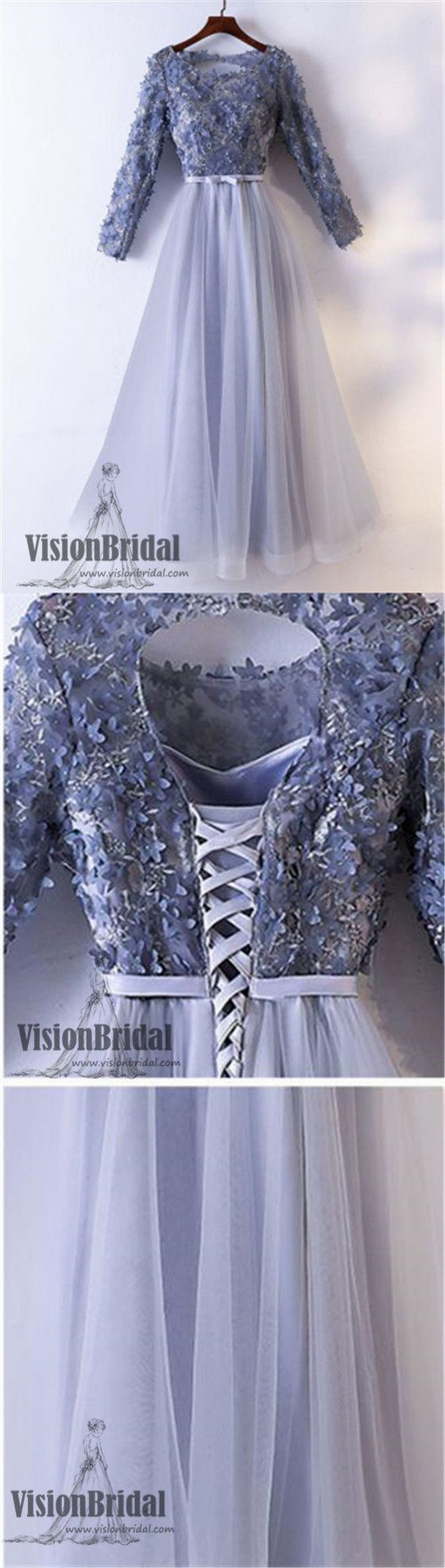 Lavender lace floral prom dress long sleeves lace up tulle prom