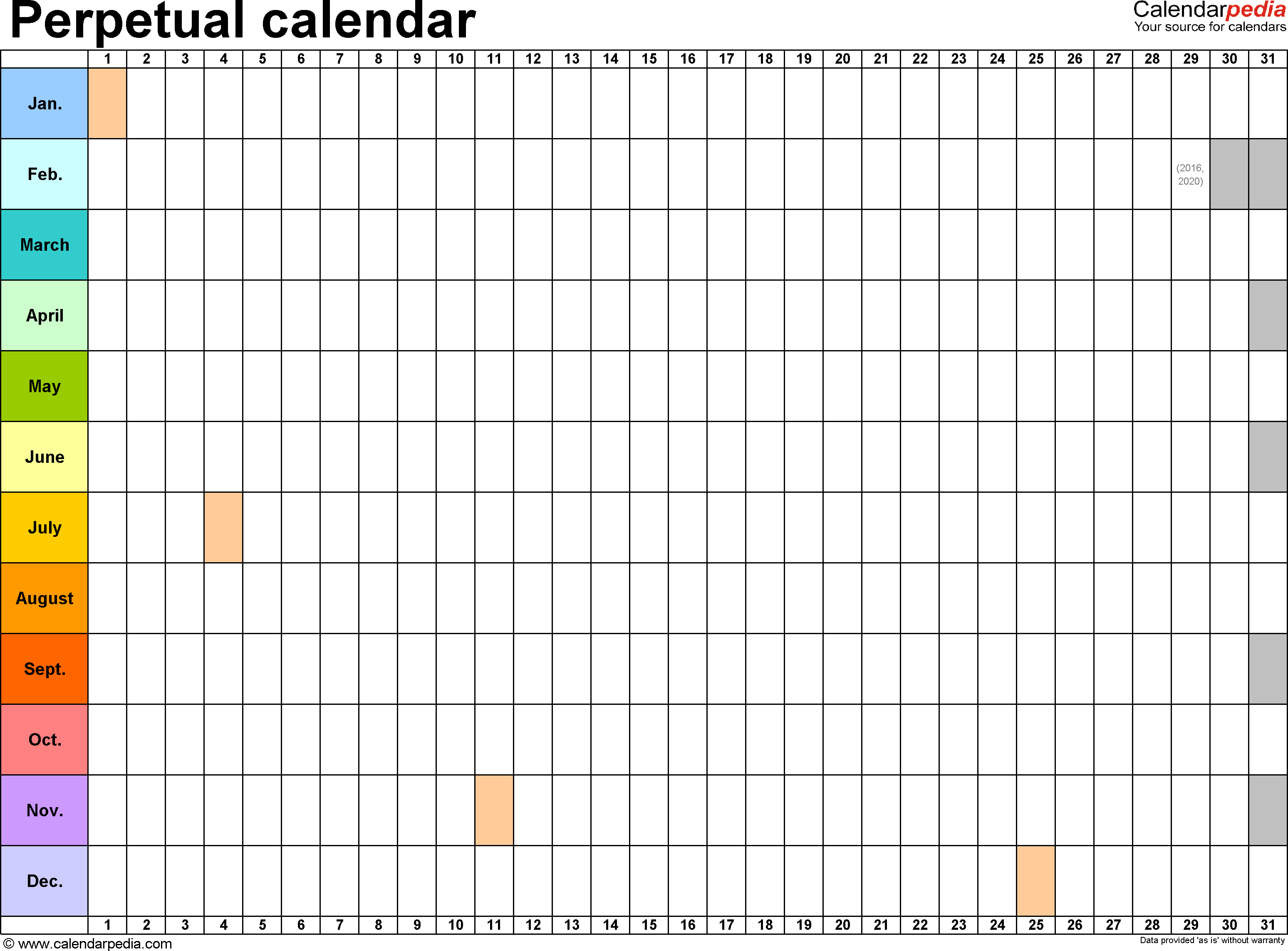 Template  Excel Template For Perpetual Calendar Landscape