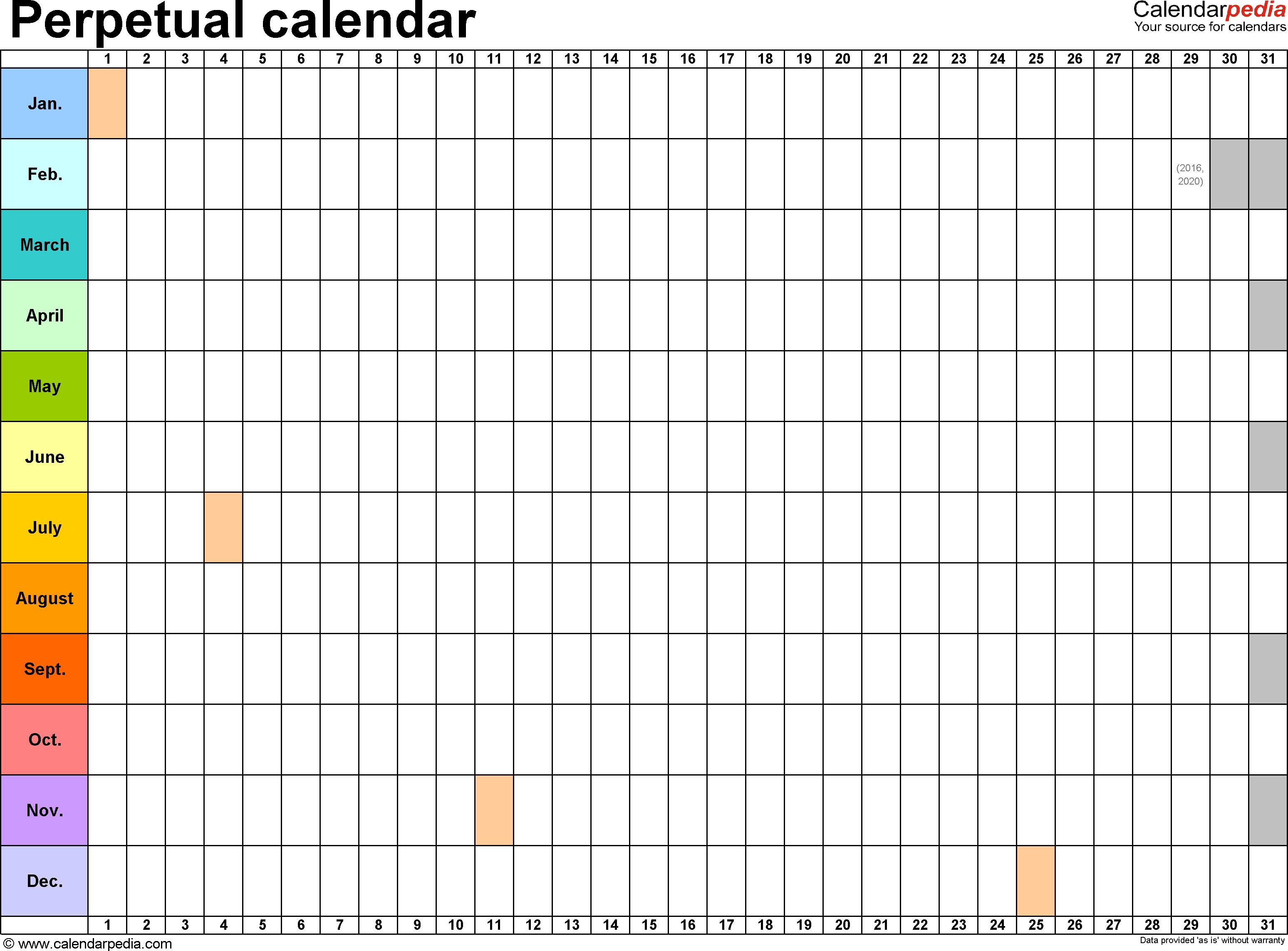 image about Perpetual Calendar Template identify Template 2: Excel template for perpetual calendar (landscape
