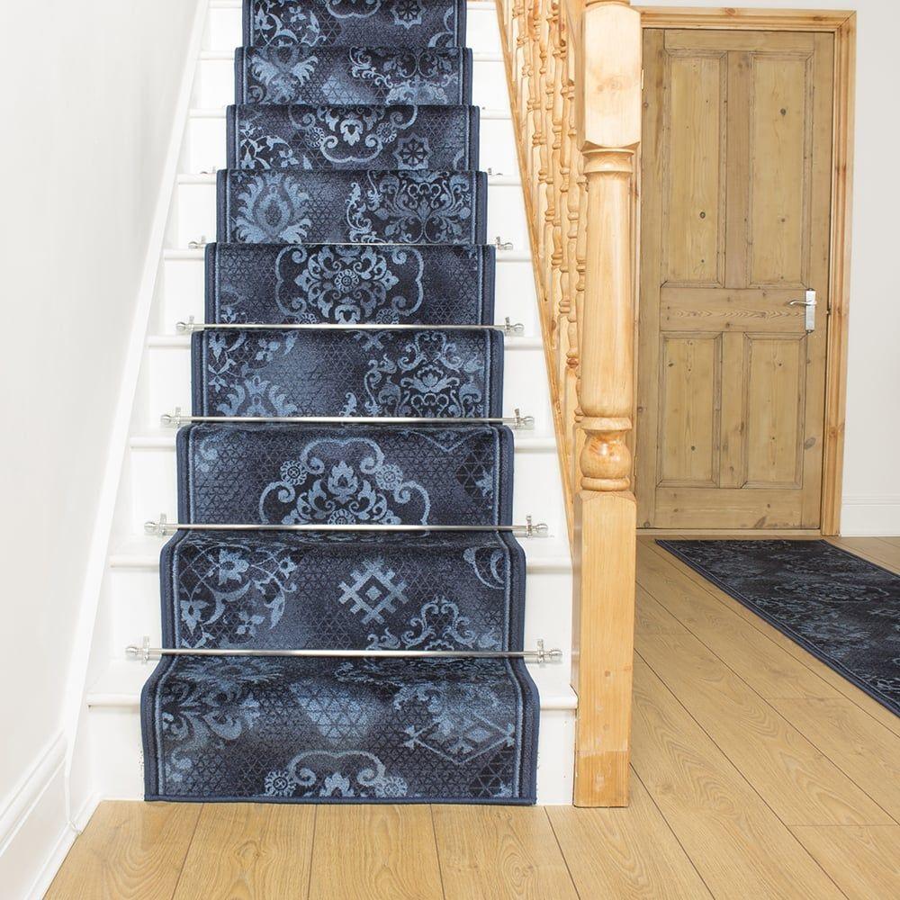 Best Pallas Blue Stair Runner Carpet Stairs Stair Rods 400 x 300