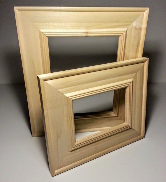 Set Of 2 Wide Unfinished Wood Picture Frame Set Raw Frame Kit