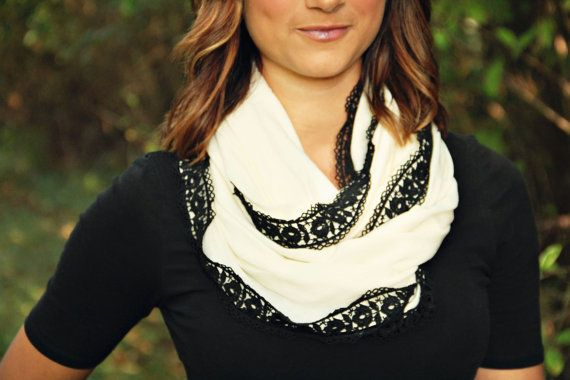 A scarf for $35??? I don't know....it's pretty cute though!! {Ivory Infinity Scarf with Elegant Black Floral Lace by Murabelle}