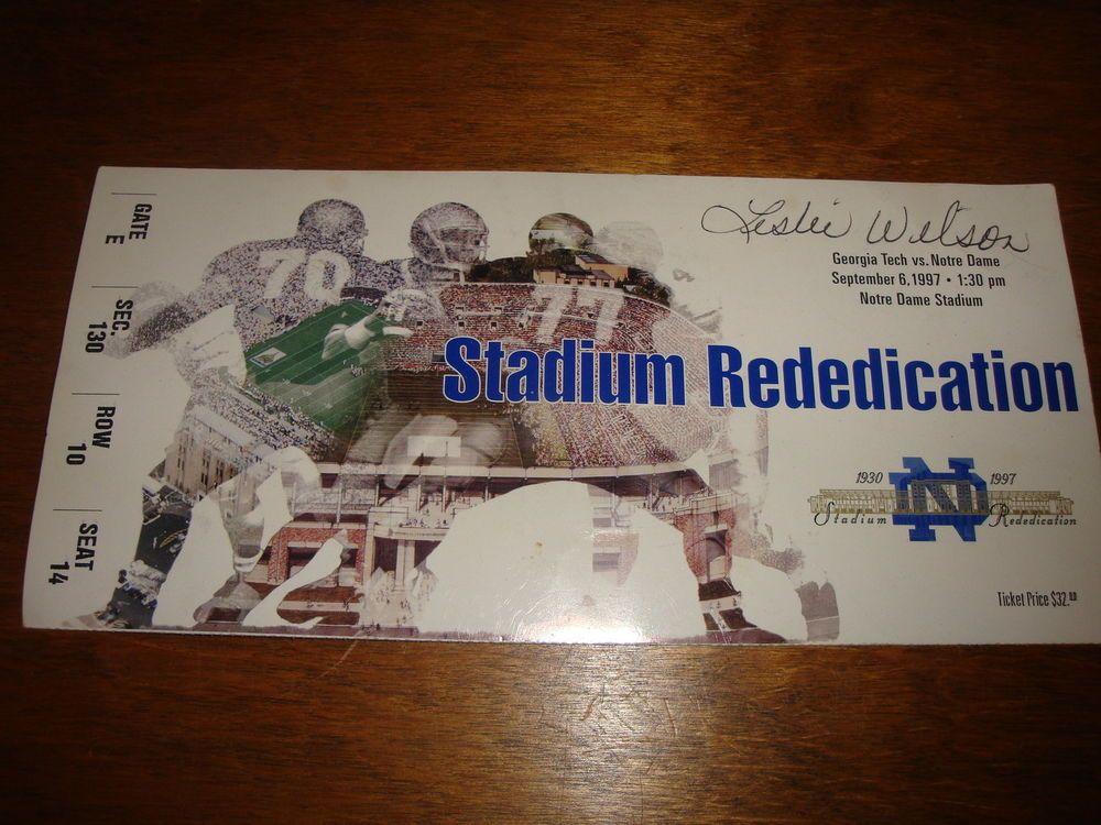 Notre Dame Stadium Rededication 1997 Ticket Stub Vs