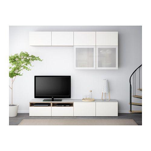 BESTÅ Mueble TV con almacenaje, efecto nogal tinte gris, Selsviken ...