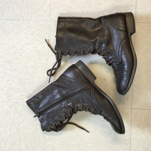 Brown AE combat boots Dark brown combat boots from American Eagle, worn only a few times, very comfortable American Eagle Outfitters Shoes Combat & Moto Boots