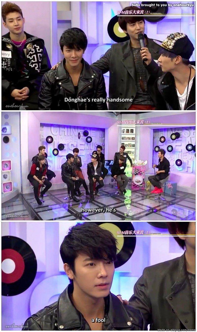 Donghae S Qualities According To Kyuhyun Allkpop Meme Center Super Junior Funny Super Junior Junior