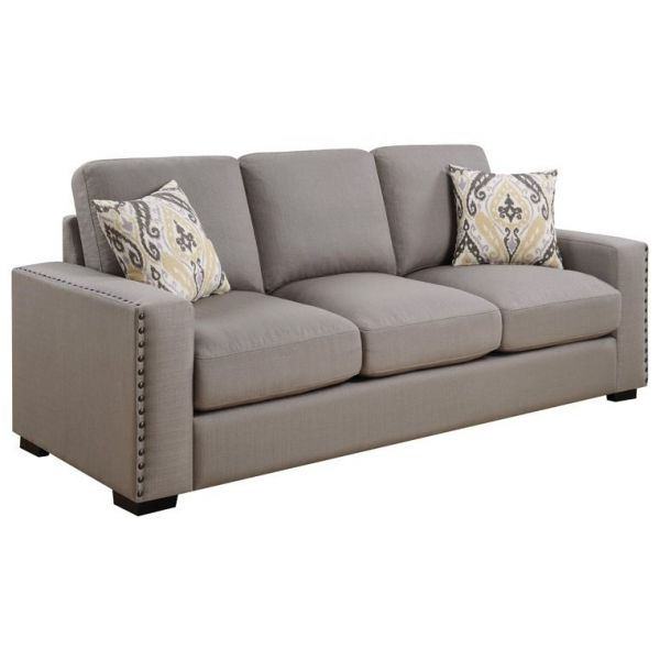 Rosanna Dark Grey Espresso Nailhead Trim Living Room Set With Images Local Furniture Stores Coaster Fine Furniture Coaster Furniture