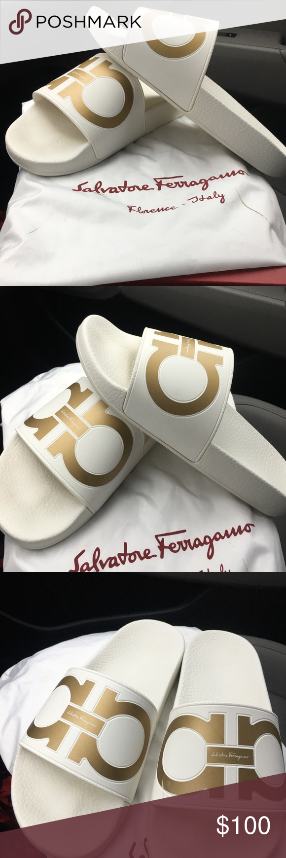 97971695d81e Ferragamo slides White and gold Salvatore Ferragamo slides (unisex) Only  worn twice Ferragamo Shoes