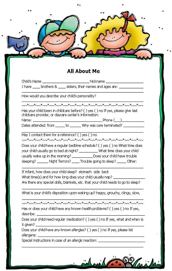 all about me | Form courtesy Precious Little Ones Childcare | Home ...