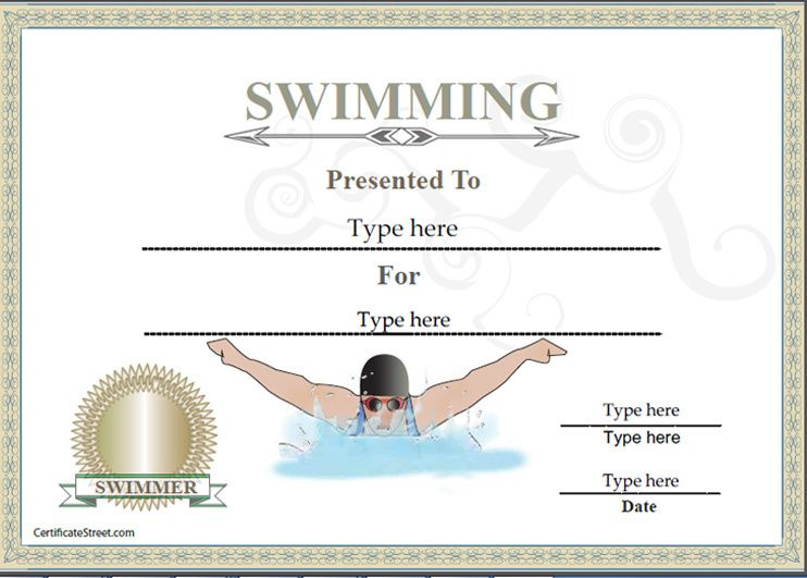 Sports Certificate - Certificate of achievement in Swimming - new printable sport certificates