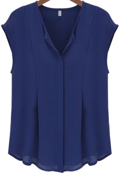 Blue V Neck Sleeveless Chiffon Blouse - Sheinside.com