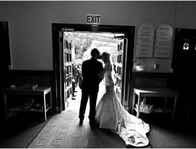 I want this exact photo, leaving the church and stepping out into the world for the very first time as husband and wife!