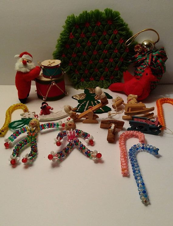 lot of christmas items hot pad santa wooden ornaments pinecone candy canes clowns cardinal drums angel